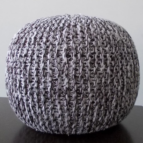 Knitted Poufs Brown White